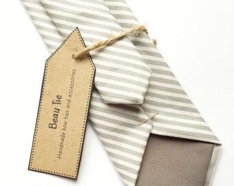 Striped skinny tie, mens grey tie, Mens skinny tie, wedding tie, grey and white tie