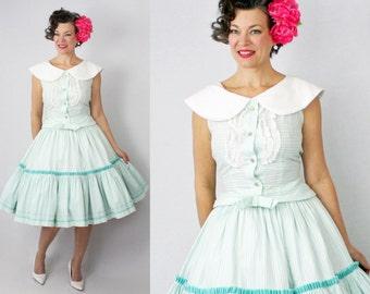 """1950s Dress / 50s Dress / Shirt and Skirt Set / New Look / Day Dress / 60s Dress / 1960s Dress / Summer Dress / Full Skirt / Waist 26"""""""