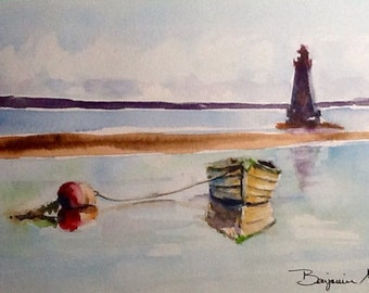 """Original Watercolour Painting, """" Sandy Point Lighthouse and Dory"""",   9x12  Llighthouse art, wall hanging, not a print!"""