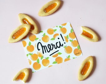 "Merci ! Post card  with all over apricots background . French post card 4.13"" x 5.82""."