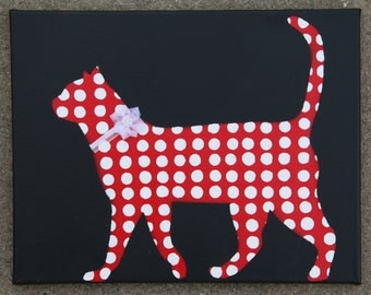 Cat Art Canvas Wall Art. Red Polka Dot Kitty with Flower Collar
