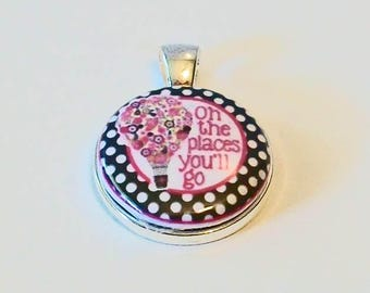 Oh The Places You'll Go Pink and Black Hot Air Balloon Floral Round Silver Pendant