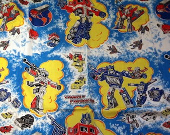 Vintage 80s transformers twin sheet flat fabric near perfect!