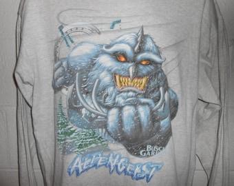 Vintage 90s Busch Gardens VA Alpengeist Rollercoaster Long Sleeve Shirt Large
