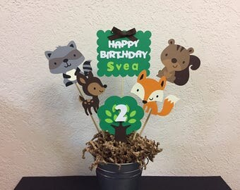 Woodland Animals Centerpiece Birthday, Forest Friends, Woodland Animal Baby Shower, Fox, Deer, Raccoon, Squirrel Birthday Centerpiece