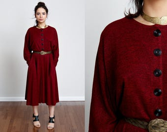 1980s Blood Red Flowy Batwing Midi Dress w/Button Front - M/L