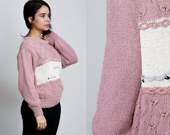 1990s Dusty Rose Colorblock Knit Fox Sweater - Normcore - M