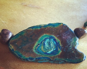 Blue & Brown Agate Slab Necklace