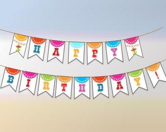 Fiesta Party Banner, Printable Fiesta Banner, Fiesta Birthday Banner, Fiesta Birthday Party Banner, Instant Download, DIY