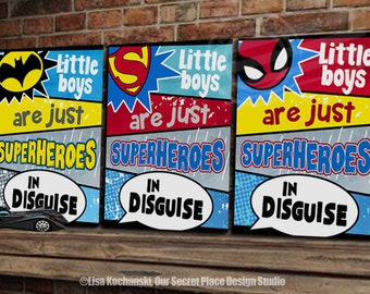 Little Boys Are Just Superheroes in Disguise Superhero Wall Art Superhero Decor Superhero Wall Decor Superhero Signs for boys Room Wall Art