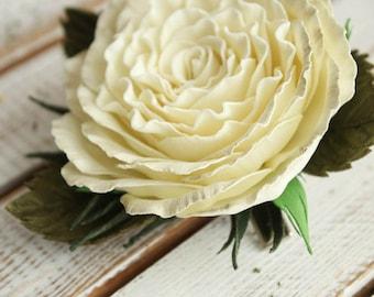Hairpin with handmade rose-peony