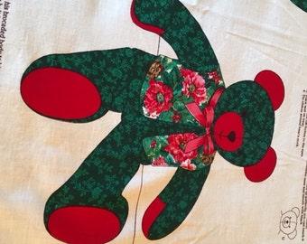 VIP Christmas Tapestry Teddy Bear Fabric Panel, 24 Inch Bear, Stuffed Teddy Bear Fabric Panel