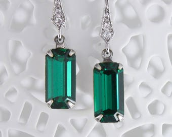 Emerald earrings,may birthstone,birthday gift for may,gift for her,vintage Swarovski,art deco earrings downton abbey,gatsby earrings,vintage