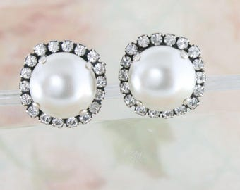 Big pearl earrings,vintage bridal earrings,vintage inspired earrings,12mm pearl earrings,big pearl stud earrings,vintage wedding,white pearl