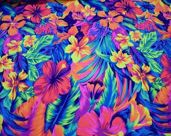 UV Tahitian Floral Neon Print Spandex Fabric SUPER Bright Hawaiian Beach Flowers Rainforest Tropical Psychedelic Jungle Party (By the Yard)