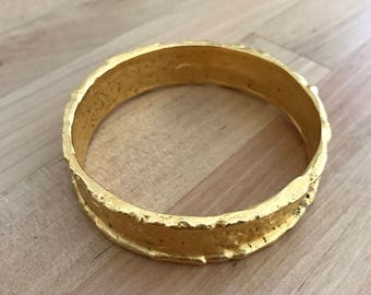 Deanna Hamro Gold Plated Brass Bangle Estate Bracelet Rare