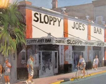 Sloppy Joes Bar Oversized Postcard - Art by R E Kennedy