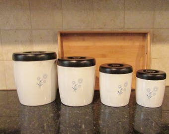 Vintage West Bend Canister Set - Blue and White