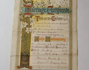 Antique Marriage Certificate 1892, New Jersey