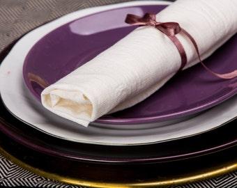 White Soft washed Large Linen Napkins / Set of 2, 4, 6, 8, 12 Washed Linen Napkins / Bespoke Handmade Lunch, Dinner Napkins