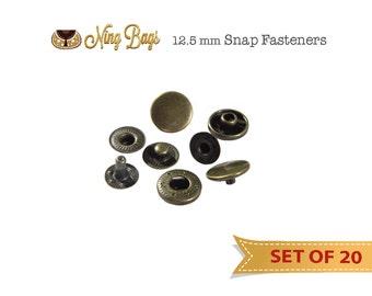 "1/2"" (12.5 mm) Snap Fastener, metal button snap in Antique Brass (Set of 20)"
