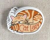 Katzendame Tabby Kitty-Vinyl-Aufkleber / schläfrig Tabby Katze Aufkleber / illustriert Kitty Katze Aufkleber / Wasser-Flasche Aufkleber / Cool Laptop Aufkleber