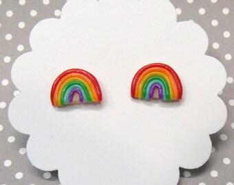 Rainbow Earrings, Stud Earrings, Cute Earrings, Hypoallergenic for Sensitive Ears, Colorful Stud Earrings, Kawaii, Magical Girl