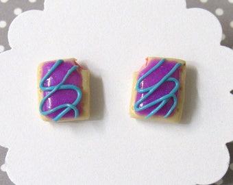 Pop Tart Earrings, Purple Earrings, Wildberry Pop Tarts, Food Earrings, Cute Earrings, Miniature Food Jewelry, Food Earrings, Girls Earrings