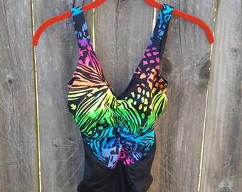 Neon Rainbow High Waist One Piece Swimsuit