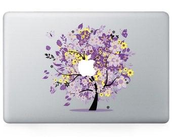 Macbook 13 inch decal sticker magic purple apple tree art for Apple Laptop