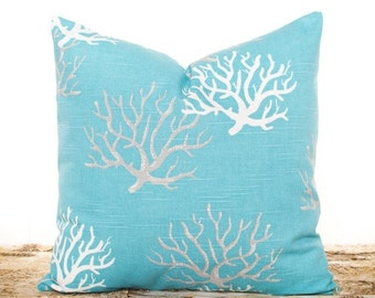 sale ends soon aqua blue throw pillows nautical pillowcases coral pillows beach theme