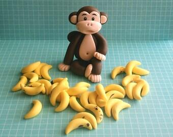 Fondant Monkey Cake Topper Set - 1 Monkey, 35 Bananas