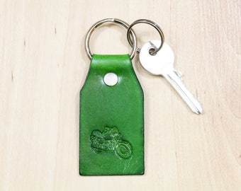 Green Motorcycle Leather Key Fobs, Gift For Brother, Motorcycle Keychain, Motorbike Keyring, Motorcyclist Gift, Motorcycle Accessory, MCM15