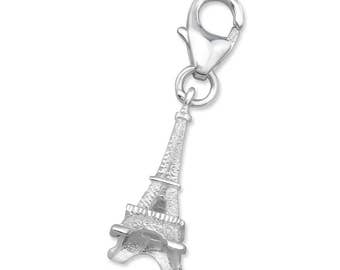 925 Sterling Silver Eiffel Tower Paris Charm Lobster Clasp - CH2874