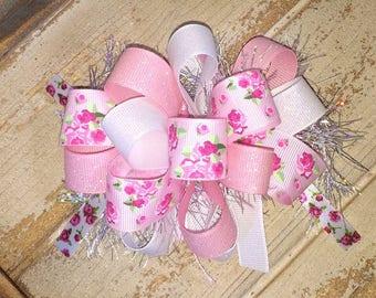 Vintage Rose Sparkle Spring Flower Hair Bow Pink White