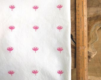 Pink Block Print Fabric, Boho Fabric | Indian lotus flower hand block printed cotton, rustic natural cotton print, nursery fabric, decor.