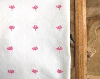 Pink Block Print Fabric, Boho Fabric | Indian lotus hand block printed cotton, pink nursery fabric, baby girl fabric, baby shower fabric.