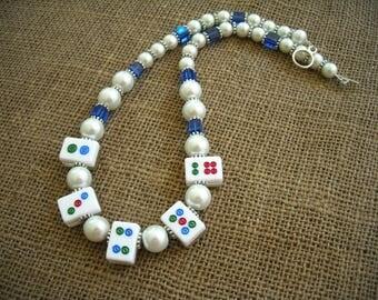 White Mahjong Necklace - Mahjong Gift - Mahjongg Jewelry - Oriental Necklace - Mahjong Present