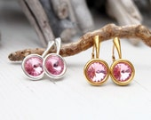Small Swarovski Earrings-Round Crystal-Pink Rose Crystal Earring-Swarovski Jewellery-Sterling Silver Gold Plated Earring- Everyday Earrings