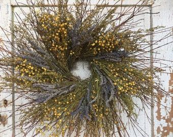 """Natural Brush Twig, Sweet Annie, Flax and Lavender Wreath - 26"""""""