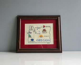 Vintage Oregon Needlepoint Artwork