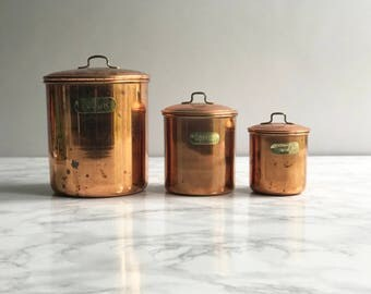 Set of 3 Vintage Nesting Copper Canisters, Kitchen Canisters, Flour, Coffee, Tea, Rustic Copper, Copper Kitchen