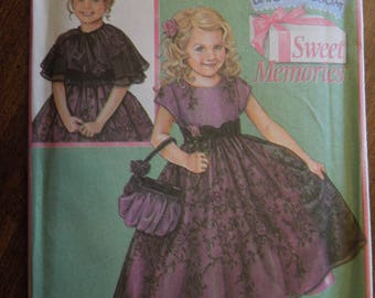 Simplicity 4448, sizes 5-8, dress, capelet and purse, UNCUT sewing pattern, craft supplies, Daisy Kingdom