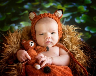 Crochet Newborn Fox Bonnet with Fox Stuffie