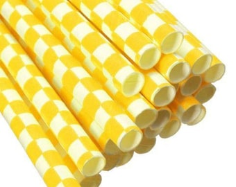 12 Count Cake Pop Straws - Yellow Checkered - CPS1022