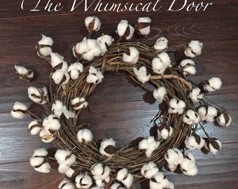 Cotton Boll Wreath Cotton Wreath Farmhouse Wreath Farmhouse Decor Rustic Wreath Primitive Cotton Grapevine Wreath Spring wreath
