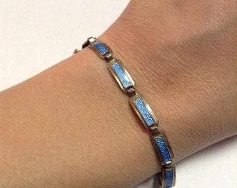 Bracelet Guilloche Blue Enamel Norway Sterling Art Deco Link Arrne  Nordlie