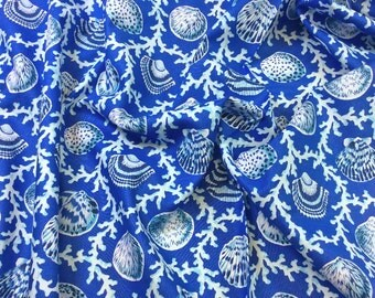 """Philip Jacobs """"Snow Leopard Designs"""" Natural World PWSL042 Scallops & Coral Blue Lagoon"""