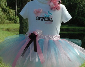 Cowgirl Girls Outfit, Cowgirl Tutu,Adorable Cowgirl Outfit Custom Made, Includes Tutu, Shirt/Onesie and Bow. Cowgirl Dress, Toddler Cowgirl