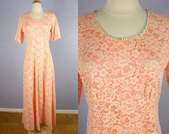Vintage Lace Dress 70s Maxi Dress PROM Dress Vintage Wedding Gown FLORAL Bridesmaid Peach Mother of the Bride Vintage BRIDAL Boho Chic